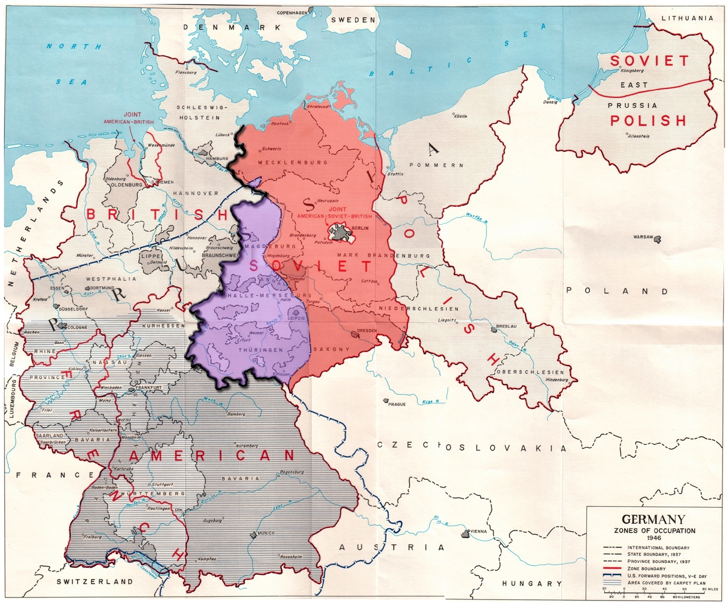 File:germany Occupation Zones With Border - Wikimedia Commons for East And West Germany Border Map