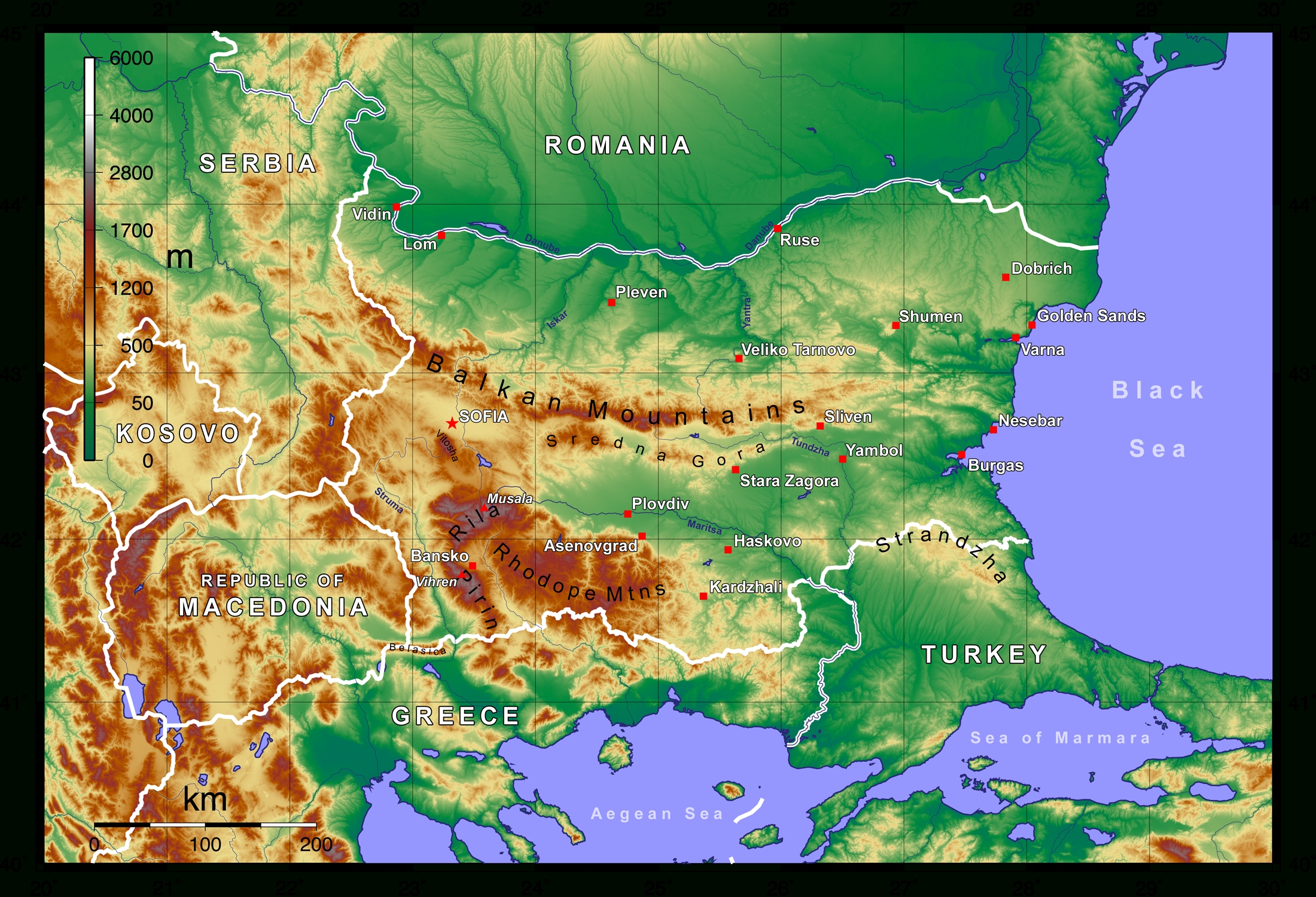 File:topographic Map Of Bulgaria English - Wikimedia Commons for Topographic Map Of Germany In English
