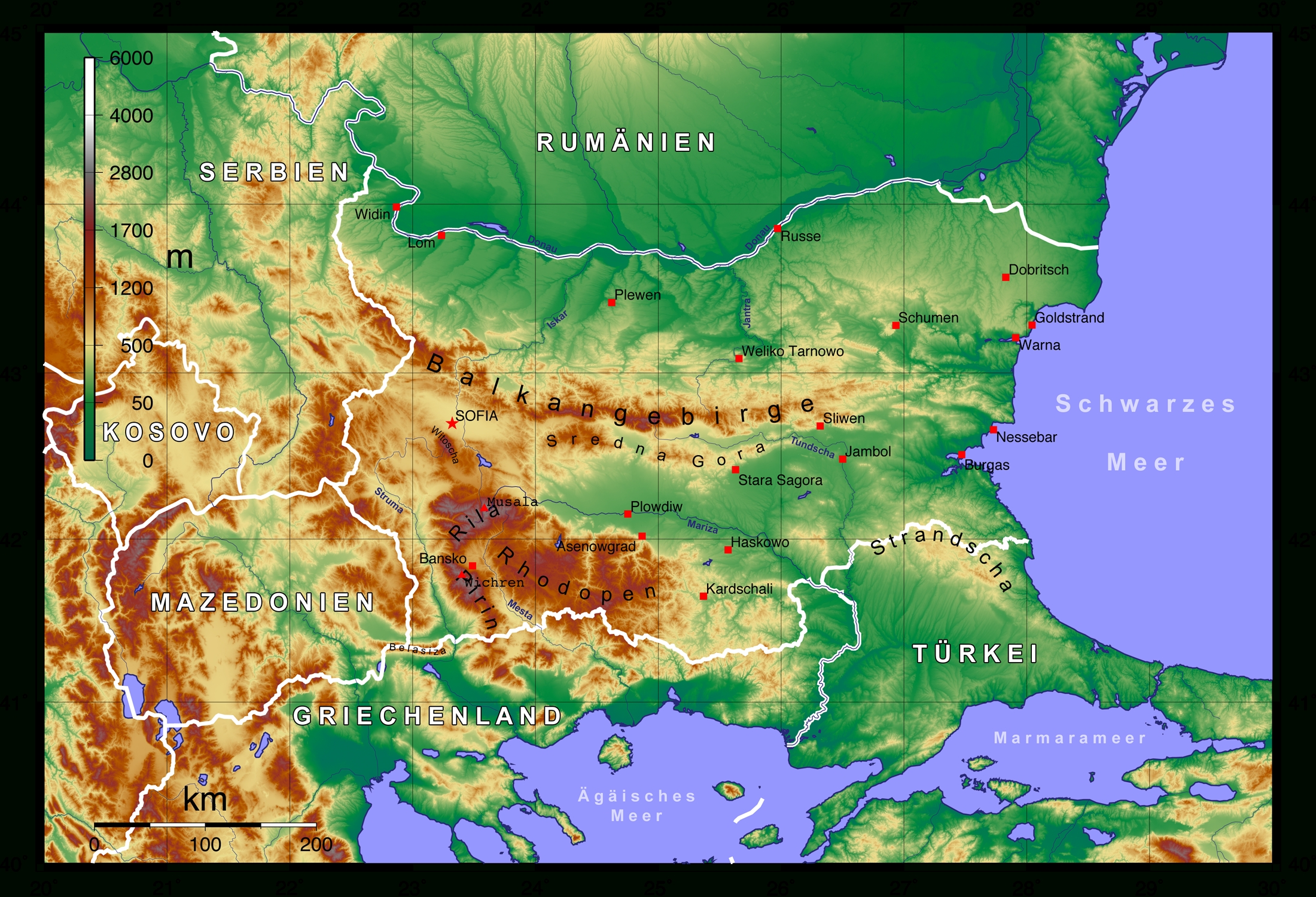 File:topographic Map Of Bulgaria German - Wikimedia Commons within Germany Topographic Map