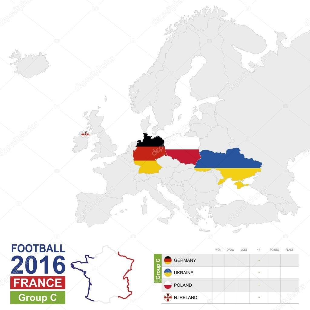 Football 2016, Group C Highlighted On Europe Map — Stock Vector inside Europe Map With Germany Highlighted