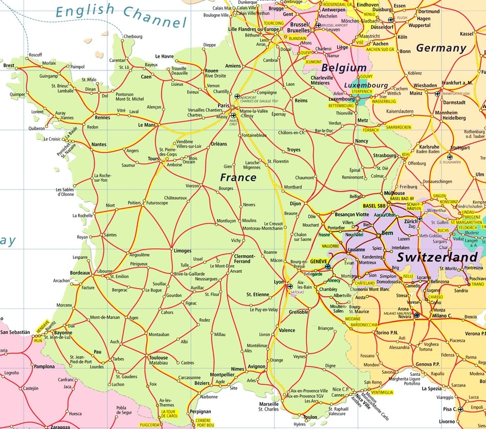 France And Germany Map And Travel Information   Download Free France in Map Of Germany And France Together