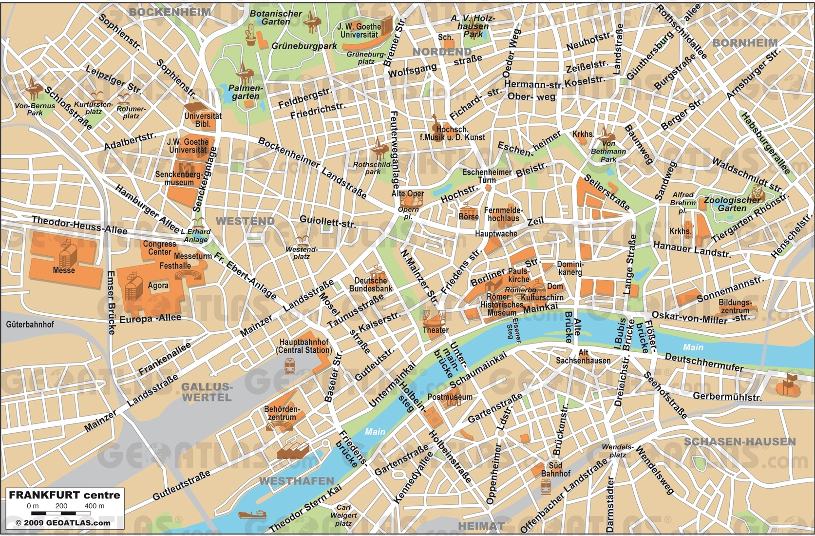 Frankfrut Map And Travel Information   Download Free Frankfrut Map in Tourist Map Of Frankfurt Germany