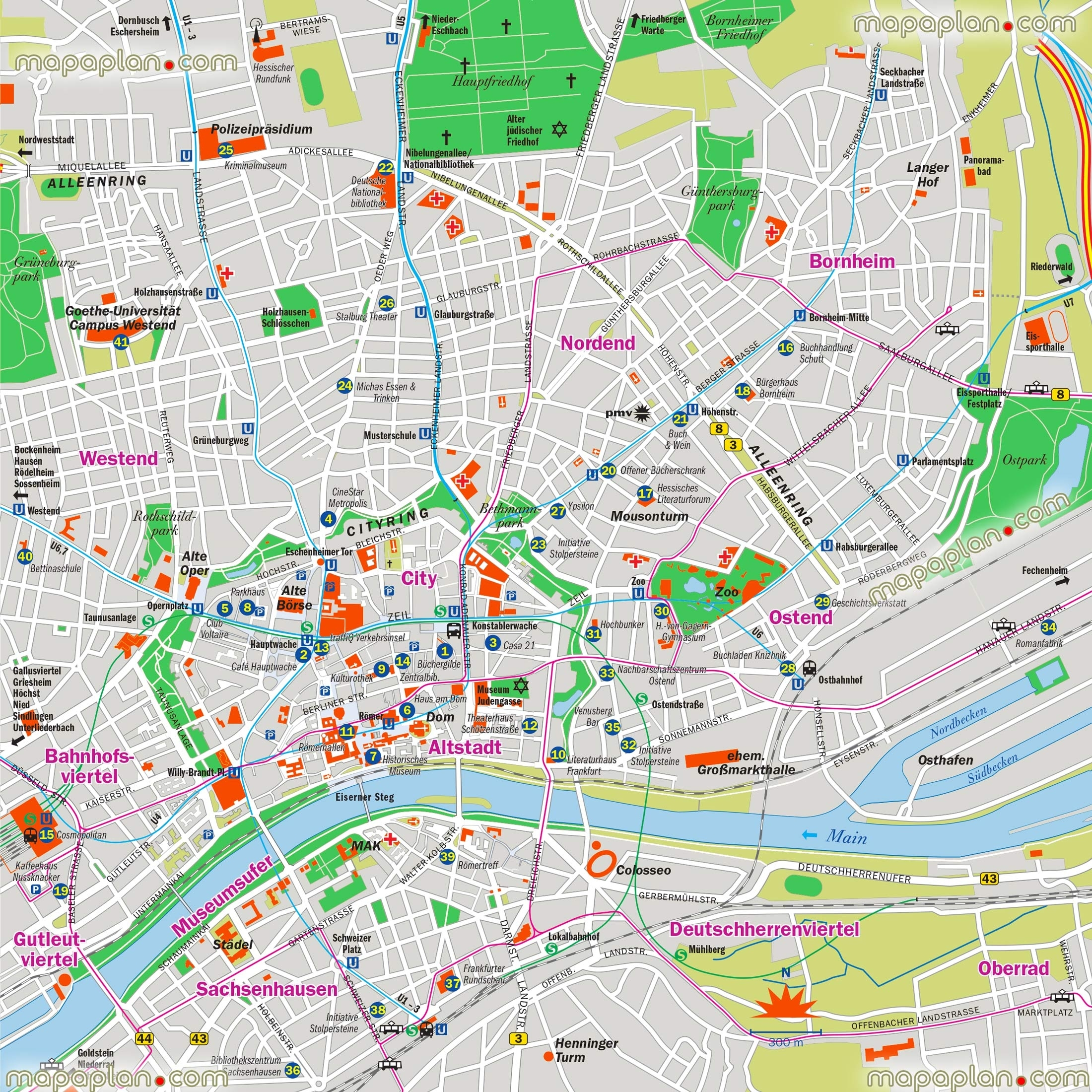 Frankfurt Map - Frankfurt Am Main, Germany City Center Free intended for Map Of Frankfurt Germany And Surrounding Area