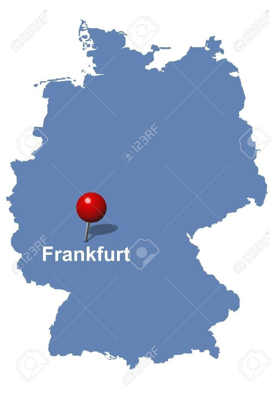 Frankfurt Pictured On The Map Of Germany pertaining to Frankfurt Germany On A Map