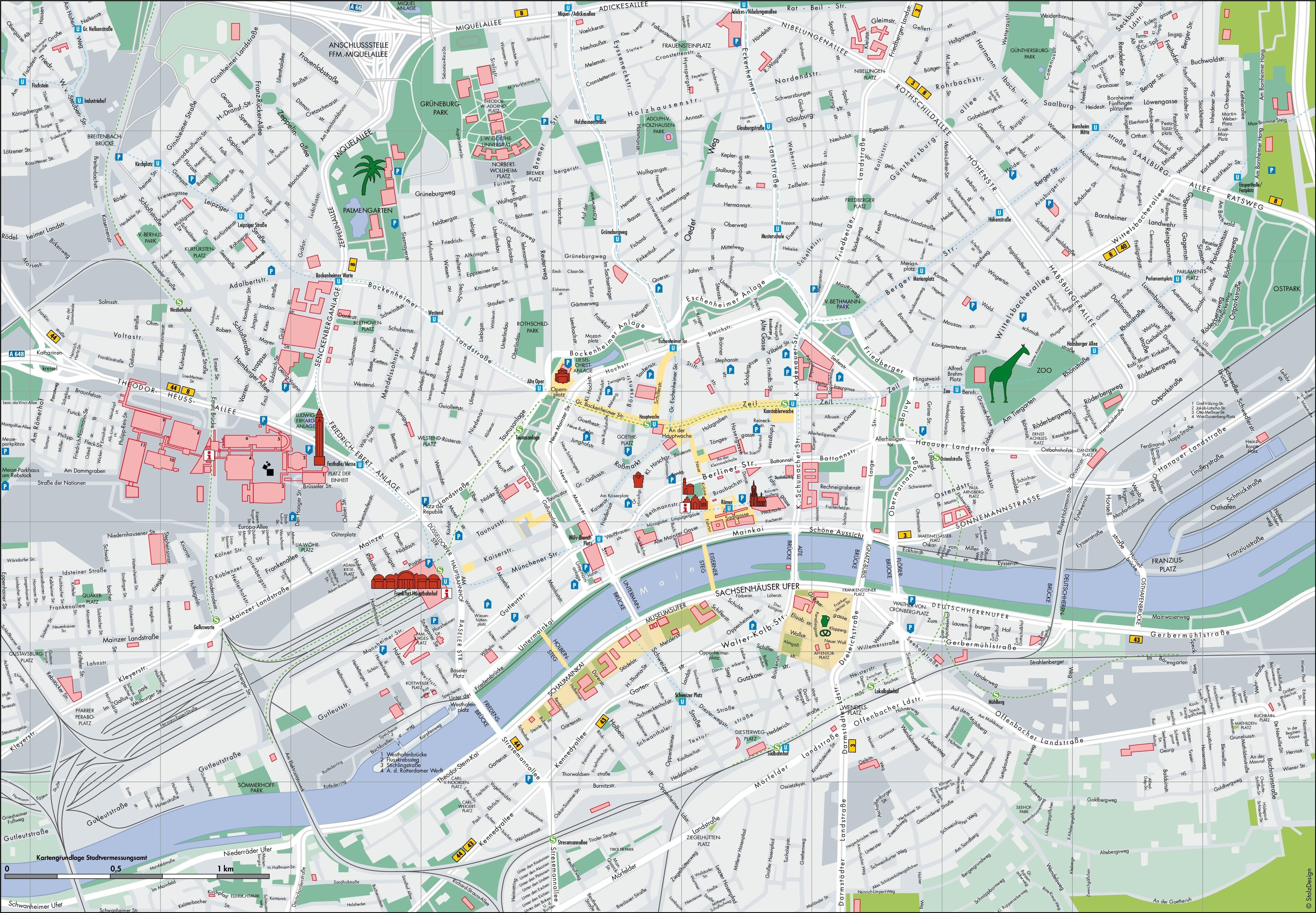 Frankfurt Tourist Map throughout Map Of Frankfurt Germany And Surrounding Area
