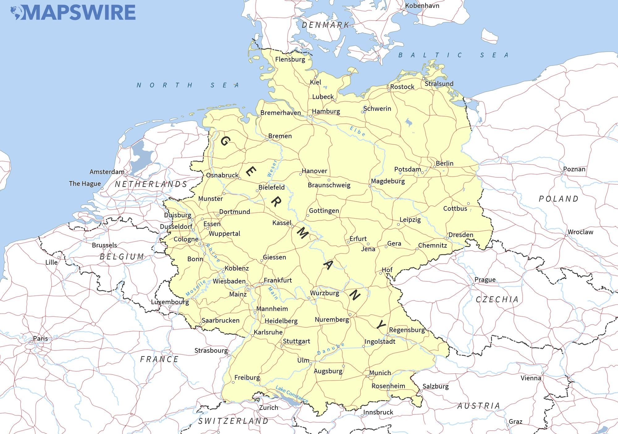 Free Maps Of Germany – Mapswire pertaining to Free Printable Map Of Germany