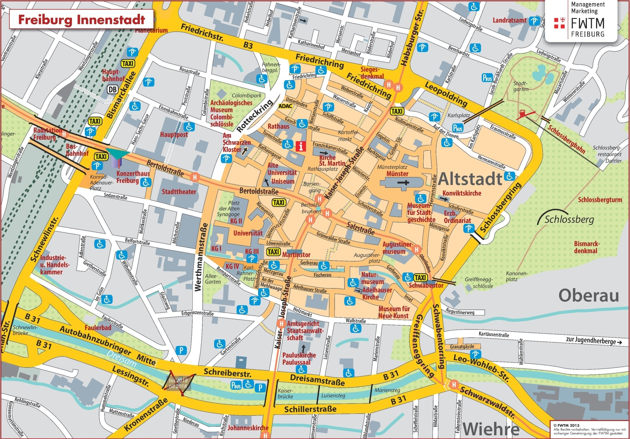 Freiburg City Center Map intended for Map Of Germany Showing Freiburg