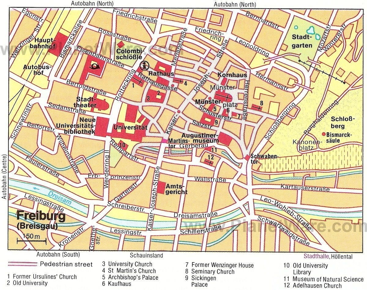 Freiburg Im Breisgau Map - Tourist Attractions | 2019 Family Int'l with Freiburg Germany Map