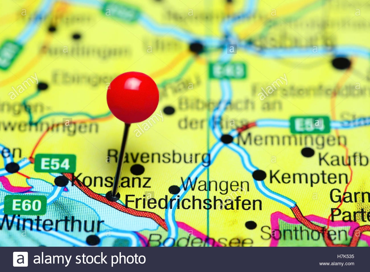 Friedrichshafen Pinned On A Map Of Germany Stock Photo: 125196265 within Friedrichshafen Germany Map