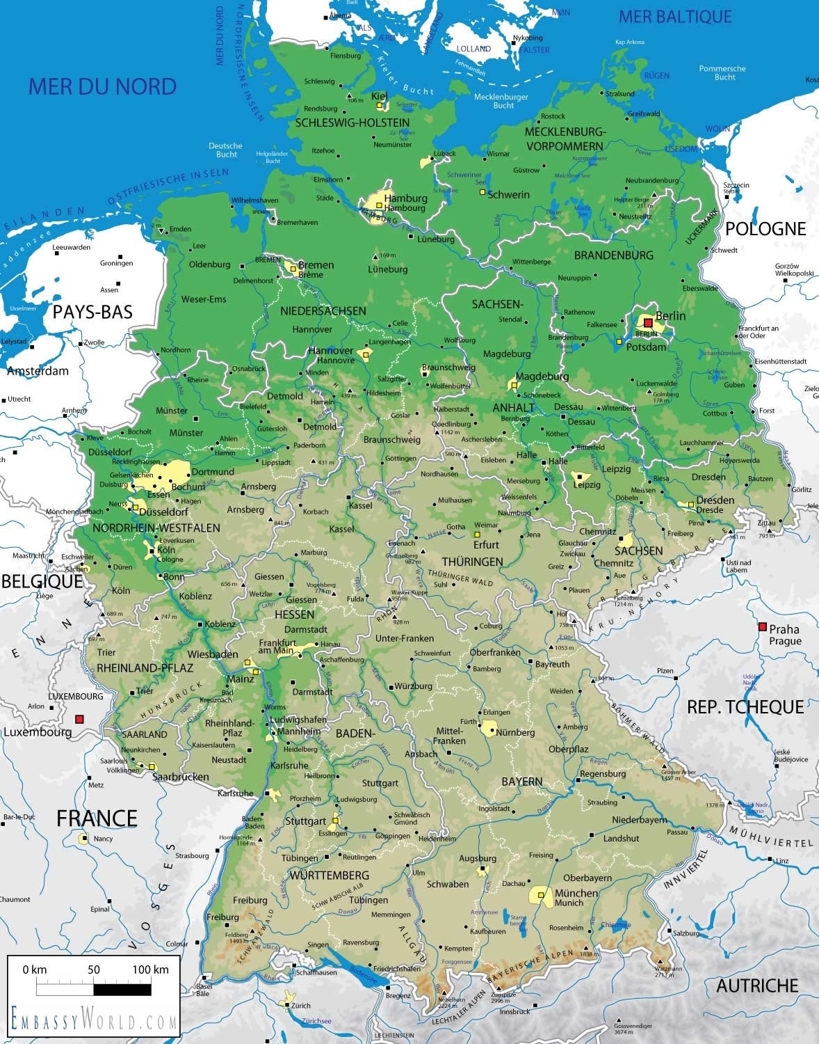 Geographic Map Of Germany And Travel Information | Download Free within Germany Geography Map