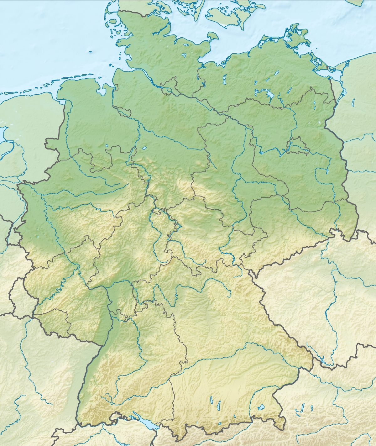 Geography Of Germany - Wikipedia regarding Topographic Map Of Germany In English