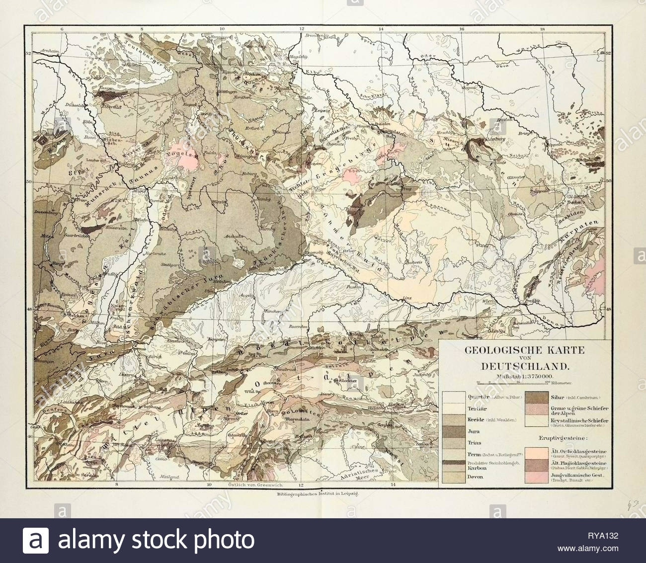 Geological Map Of Germany 1899 Stock Photo: 240550886 - Alamy throughout Geological Map Of Germany