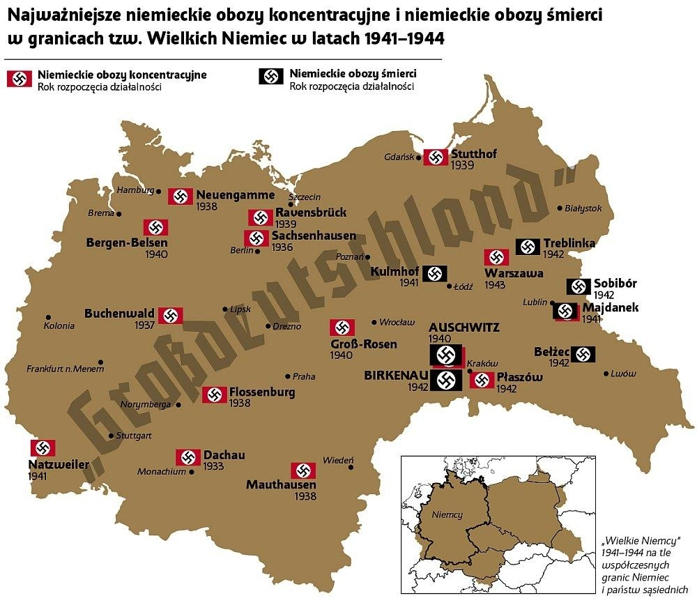 """German Concentration Camps And Exterminations In """"grossdeutschland in Map Concentration Camps In Germany"""