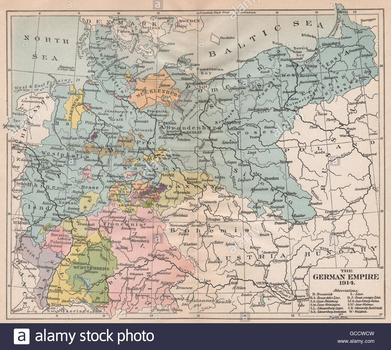 German Empire 1914. Prussia Bavaria Saxony Baden Wurttemberg, 1917 with Map German Empire 1914