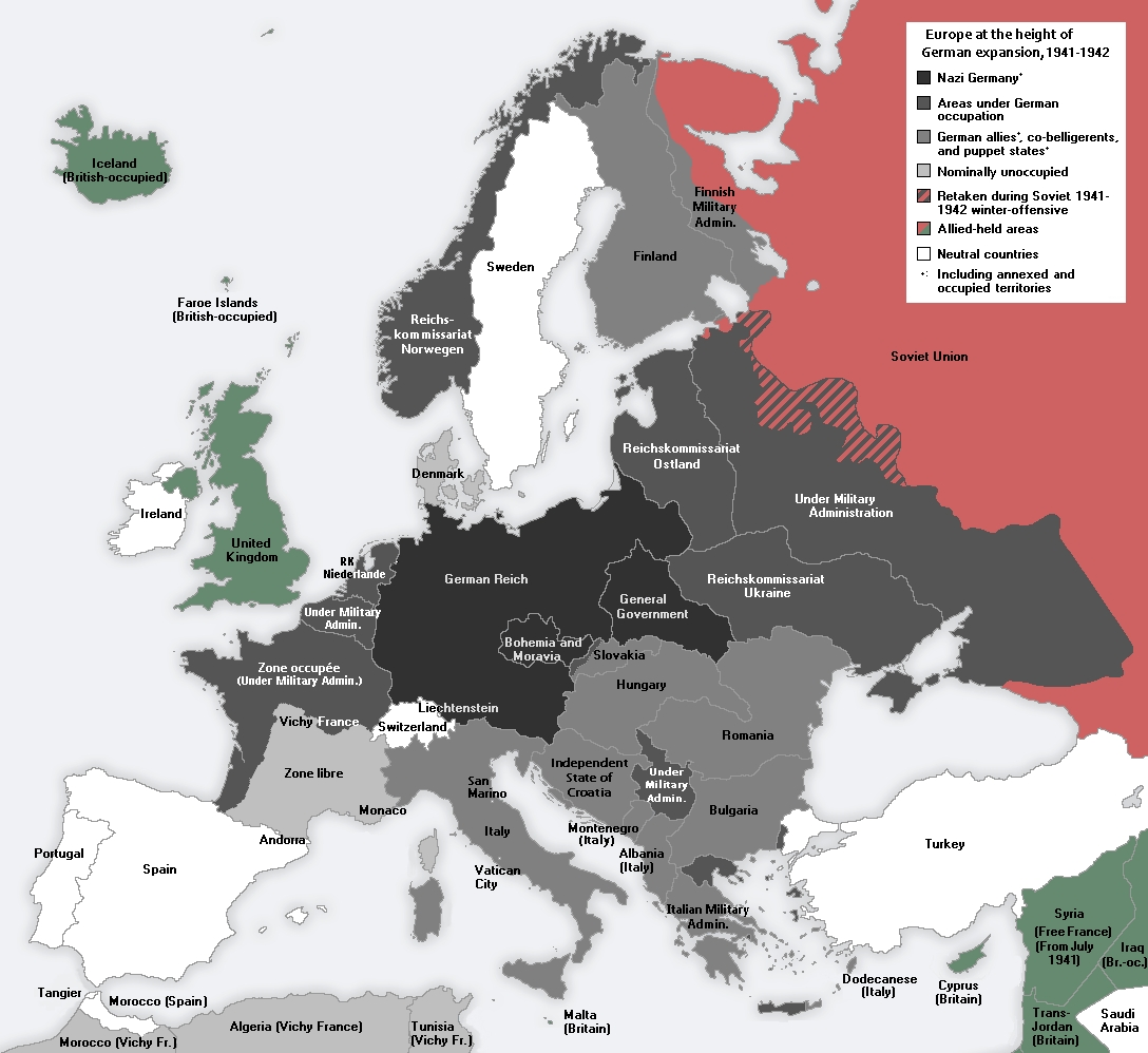 German-Occupied Europe - Wikipedia within German Occupied Europe Map