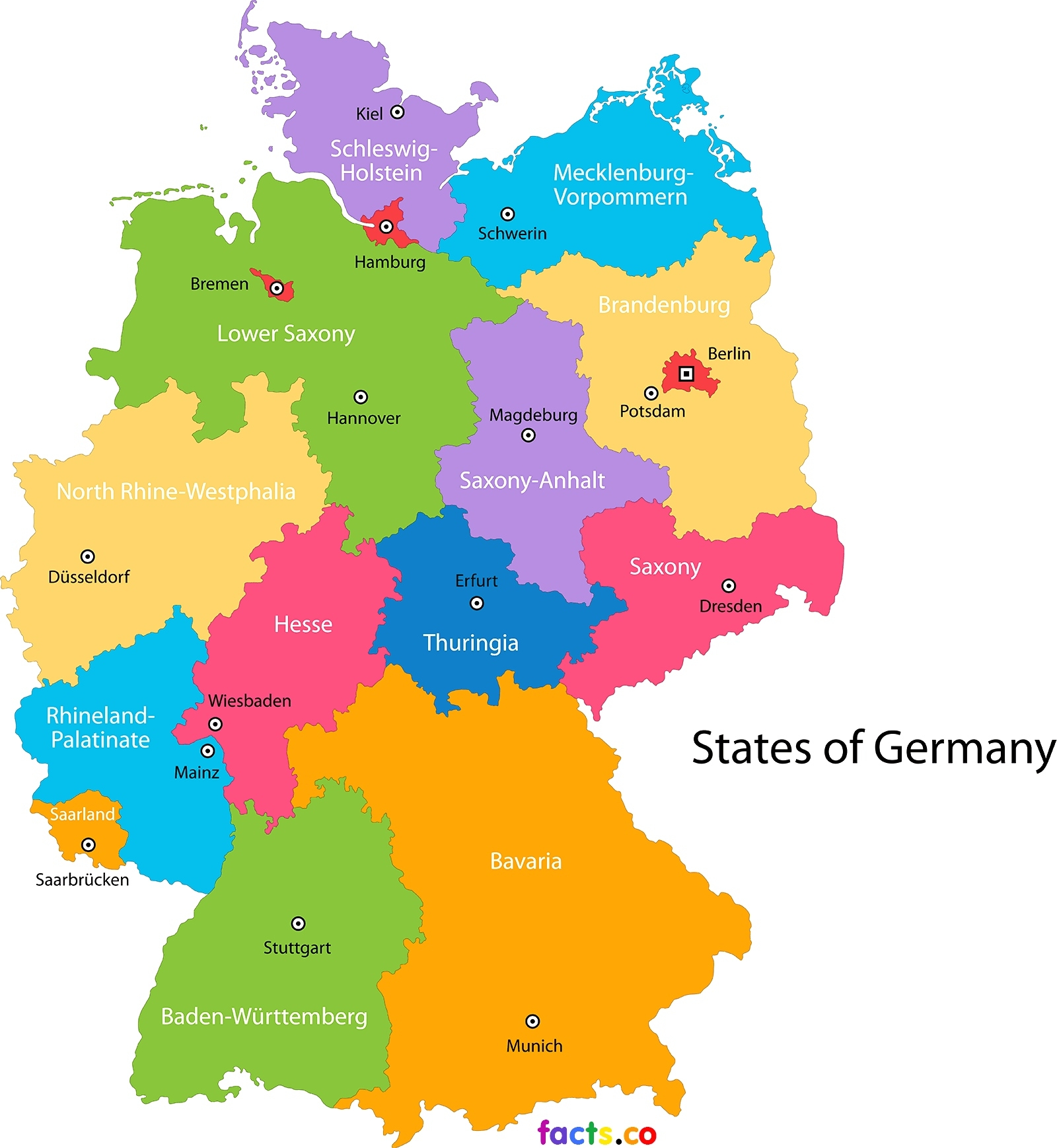 German State Map And Travel Information   Download Free German State Map throughout German States Map