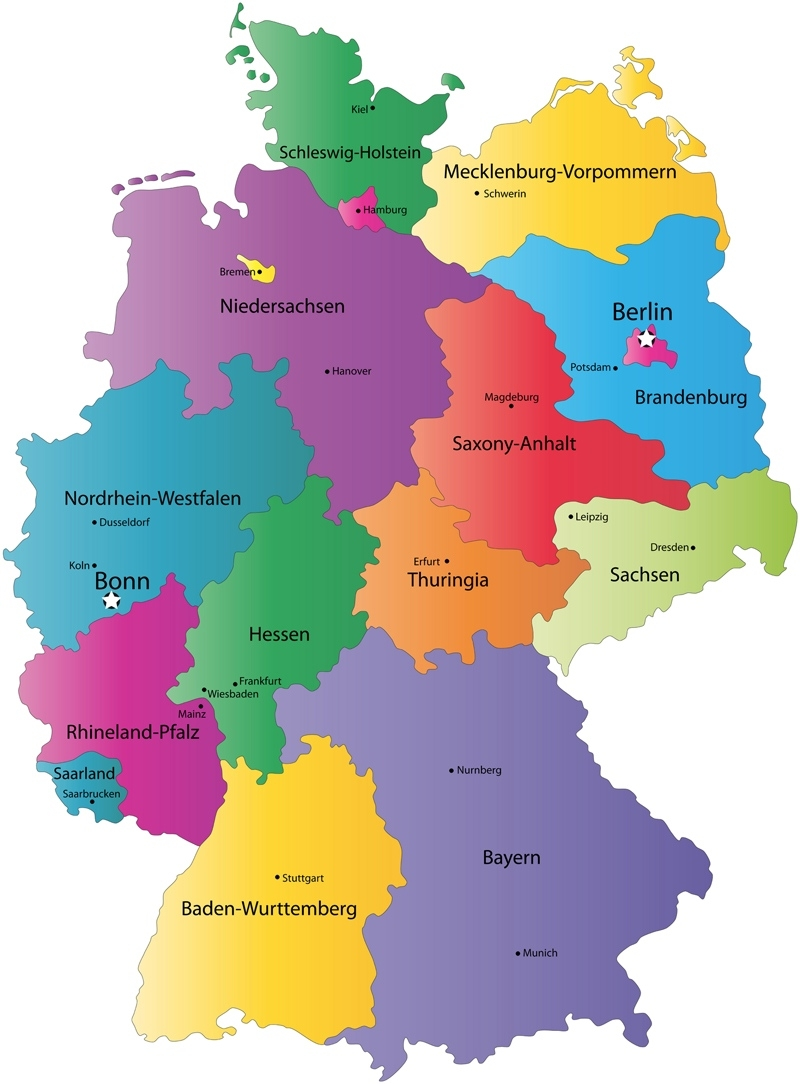 German States And State Capitals Map - States Of Germany for German Map With States And Cities