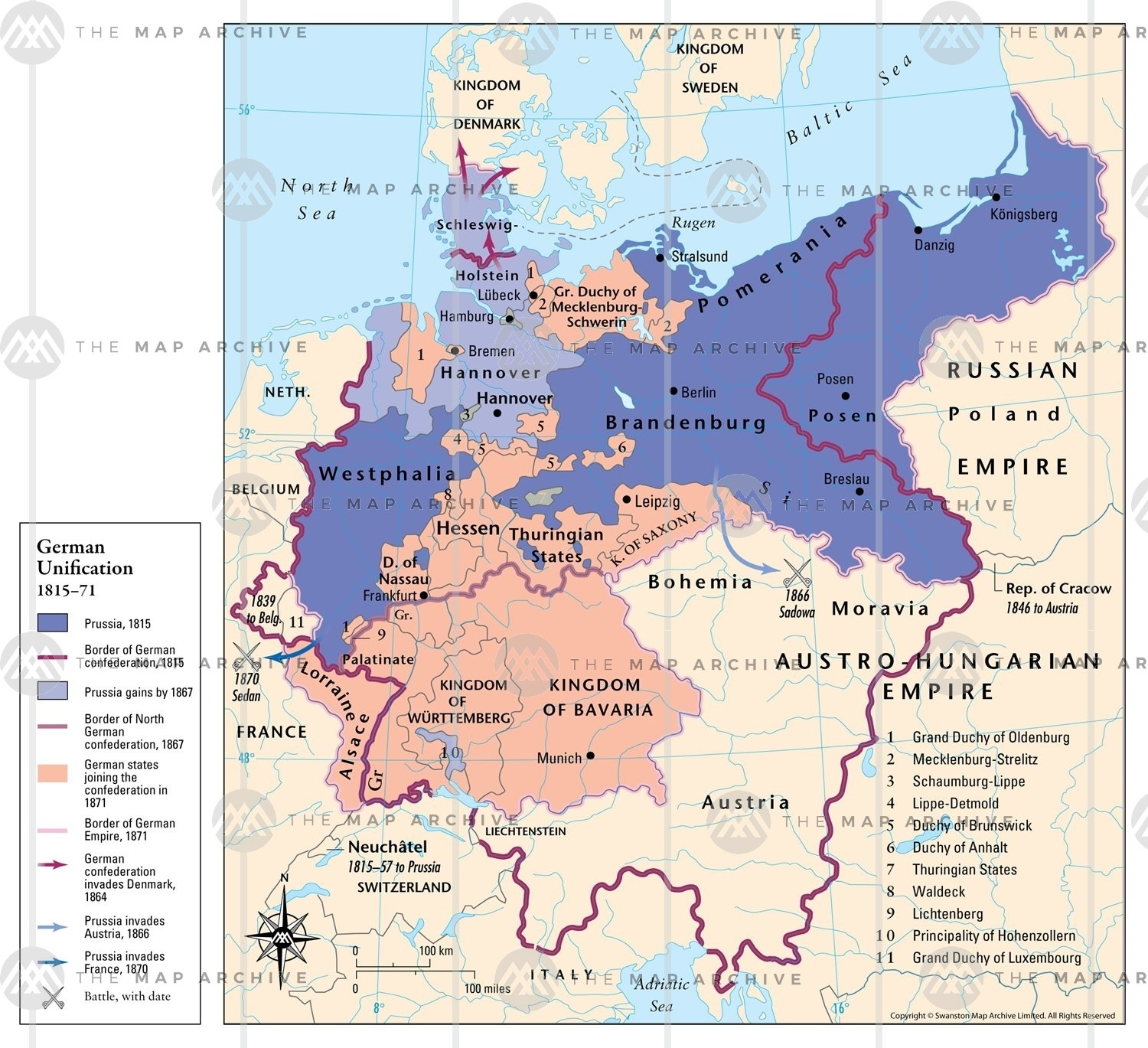 German Unification 1815–71 within Map Of Germany Before Unification