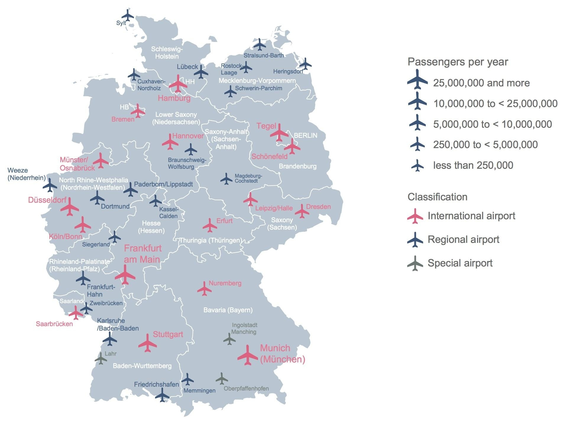 Germany Airport Map - Map Of Germany Showing Airports (Western for Germany Airports Map