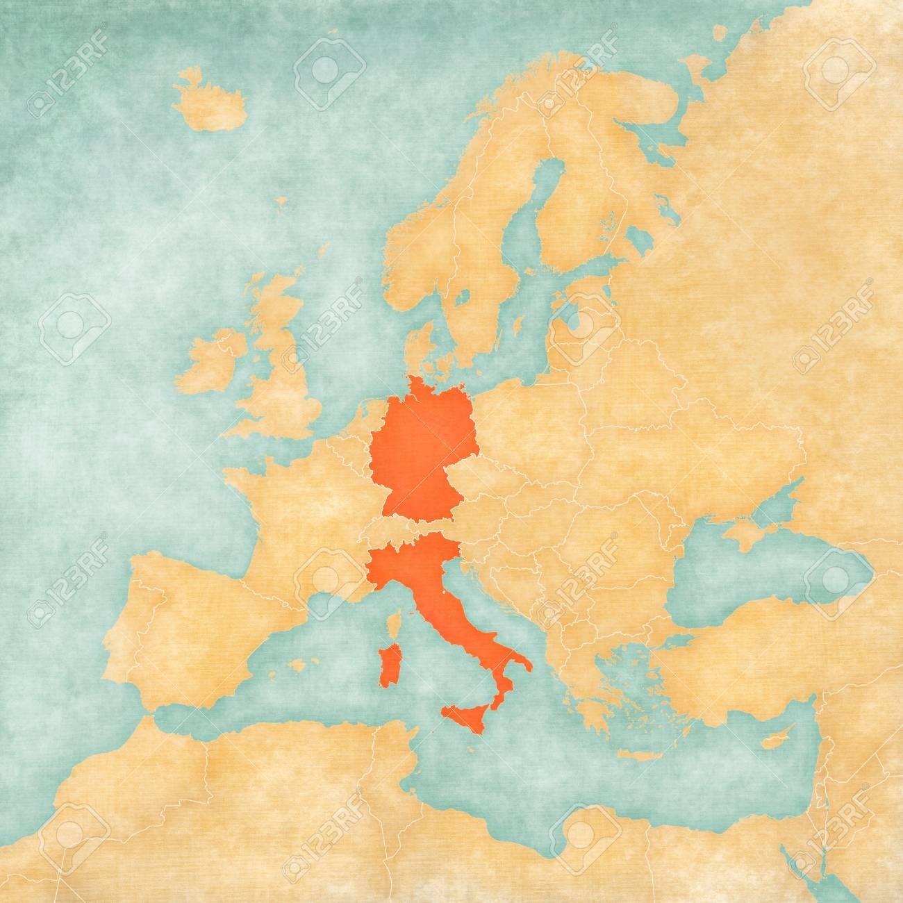Germany And Italy On The Map Of Europe In Soft Grunge And Vintage.. pertaining to Germany And Italy In World Map