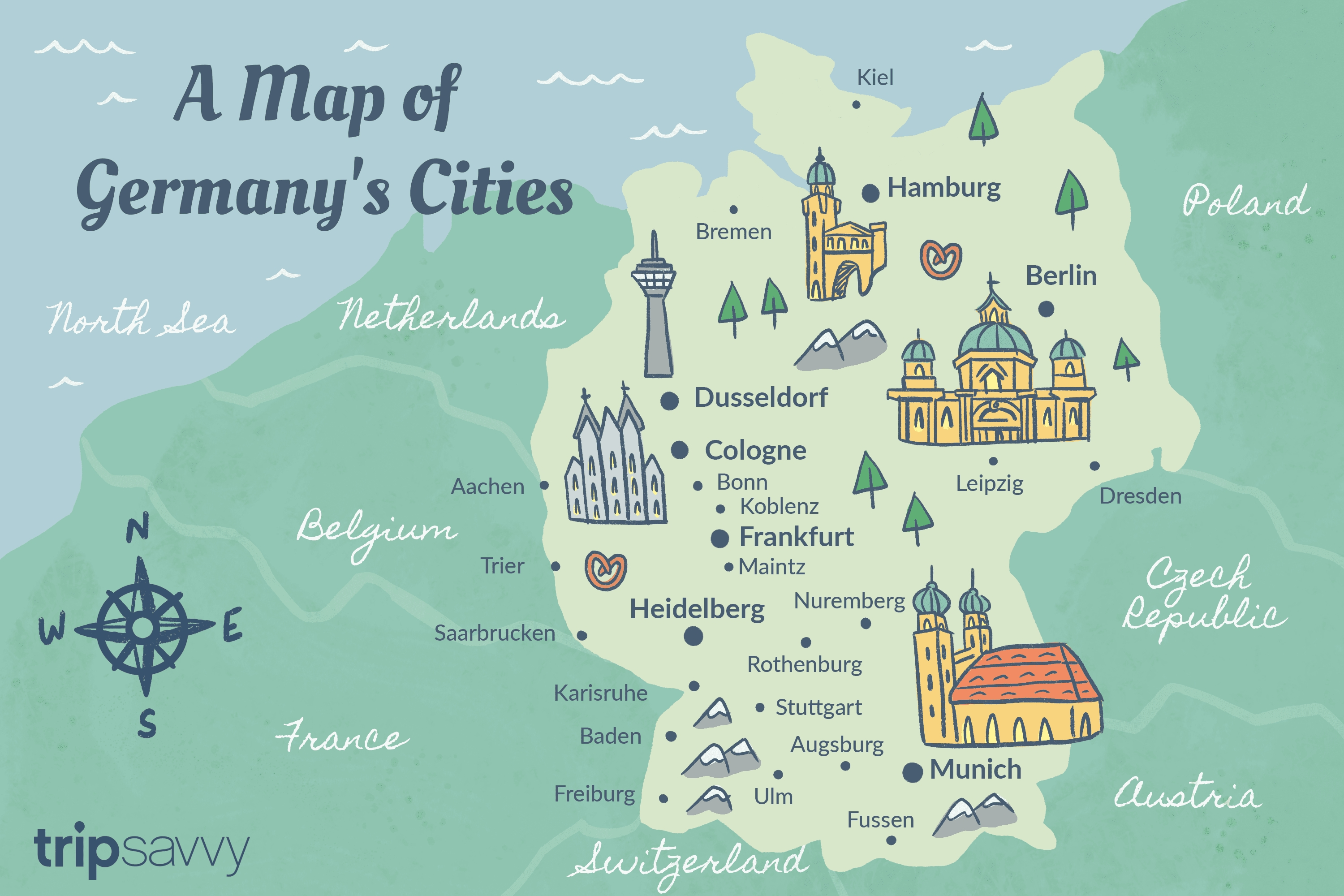 Germany Cities: Map And Travel Guide with regard to Map Of Germany And Austria With Cities