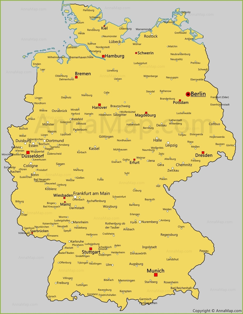 Germany Cities Map | Cities And Towns In Germany - Annamap pertaining to Map Of Germany With Cities And Towns