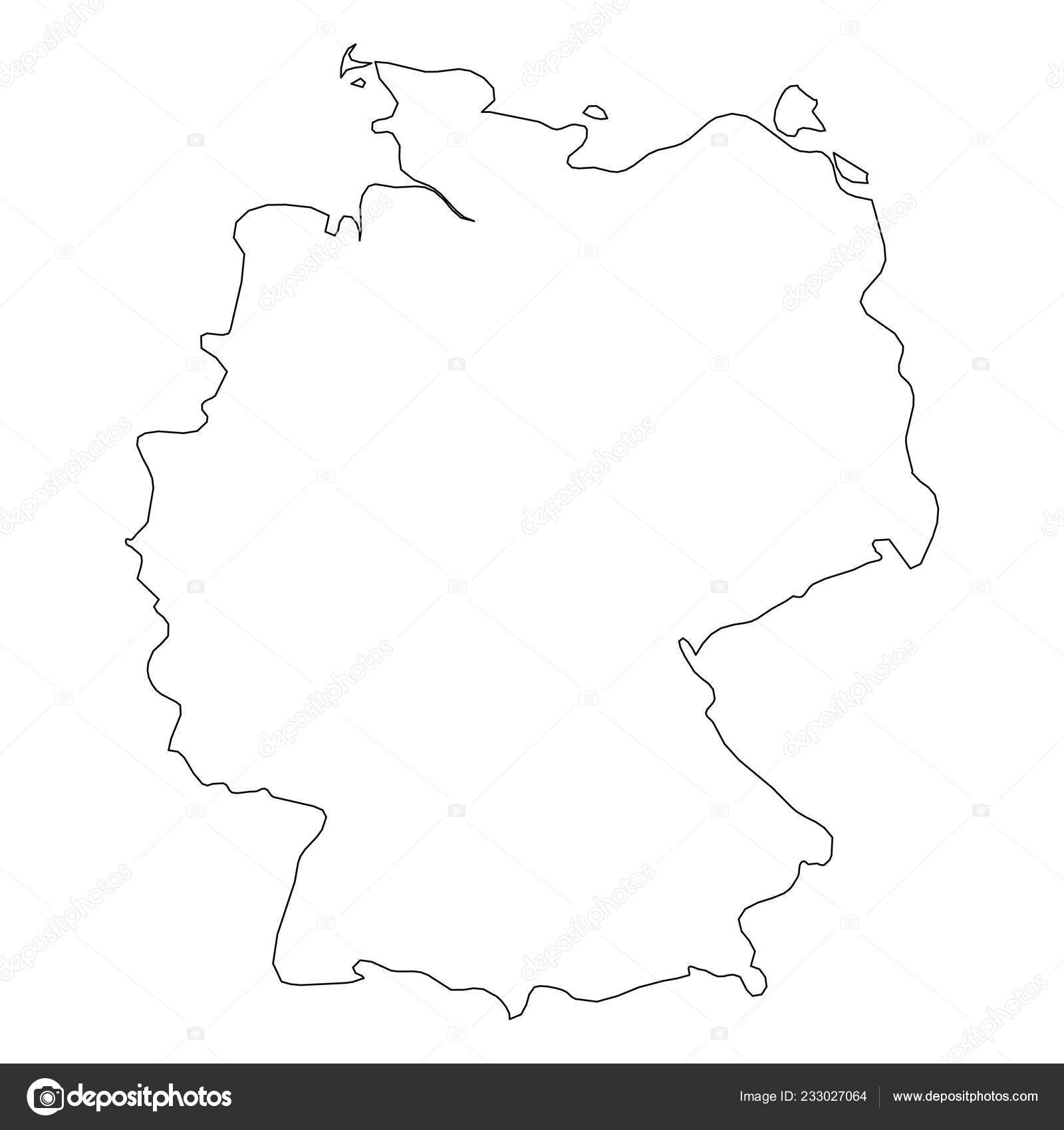 Germany Country Outline | Germany - Solid Black Outline Border Map in Germany Country Map Outline