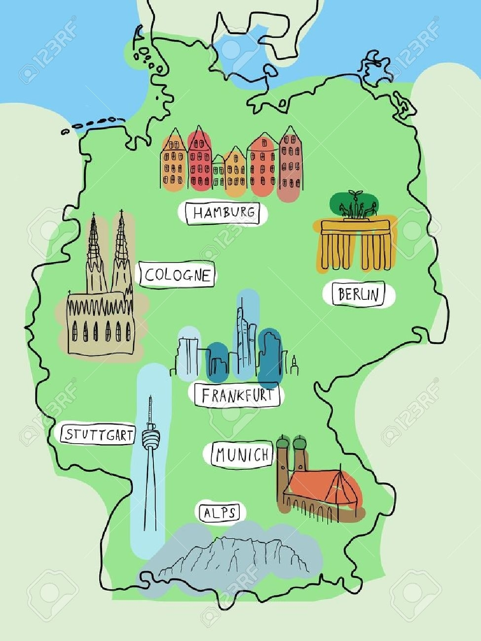 Germany - Doodle Map With Famous Places: Berlin, Hamburg, Cologne,.. in German Alps Map