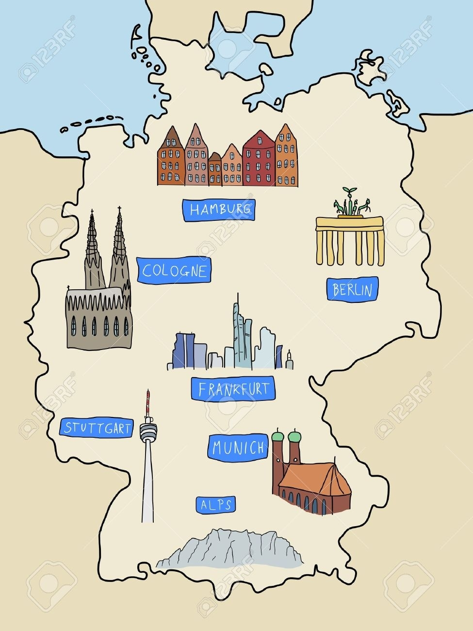 Germany - Famous Places: Berlin, Hamburg, Cologne, Frankfurt,.. with regard to German Alps Map