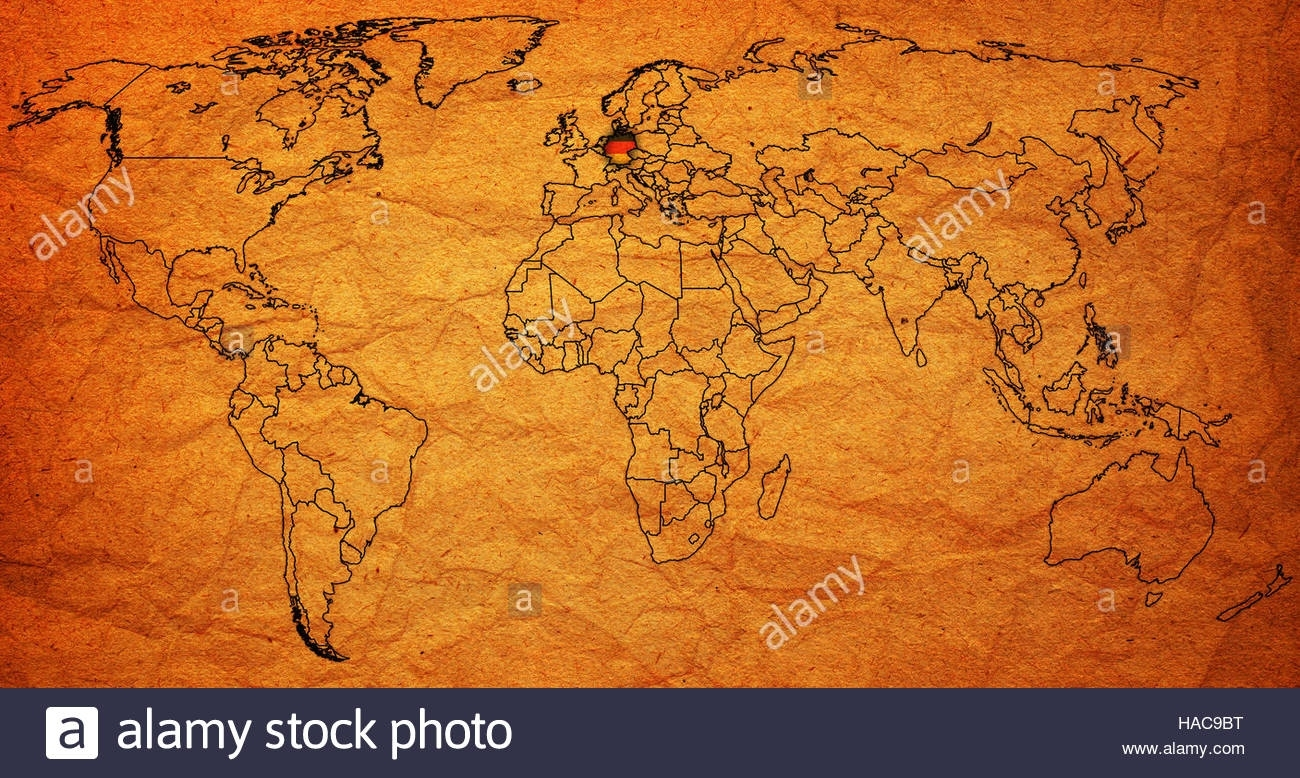 Germany Flag On Old Vintage World Map With National Borders Stock within Old World Map Of Germany