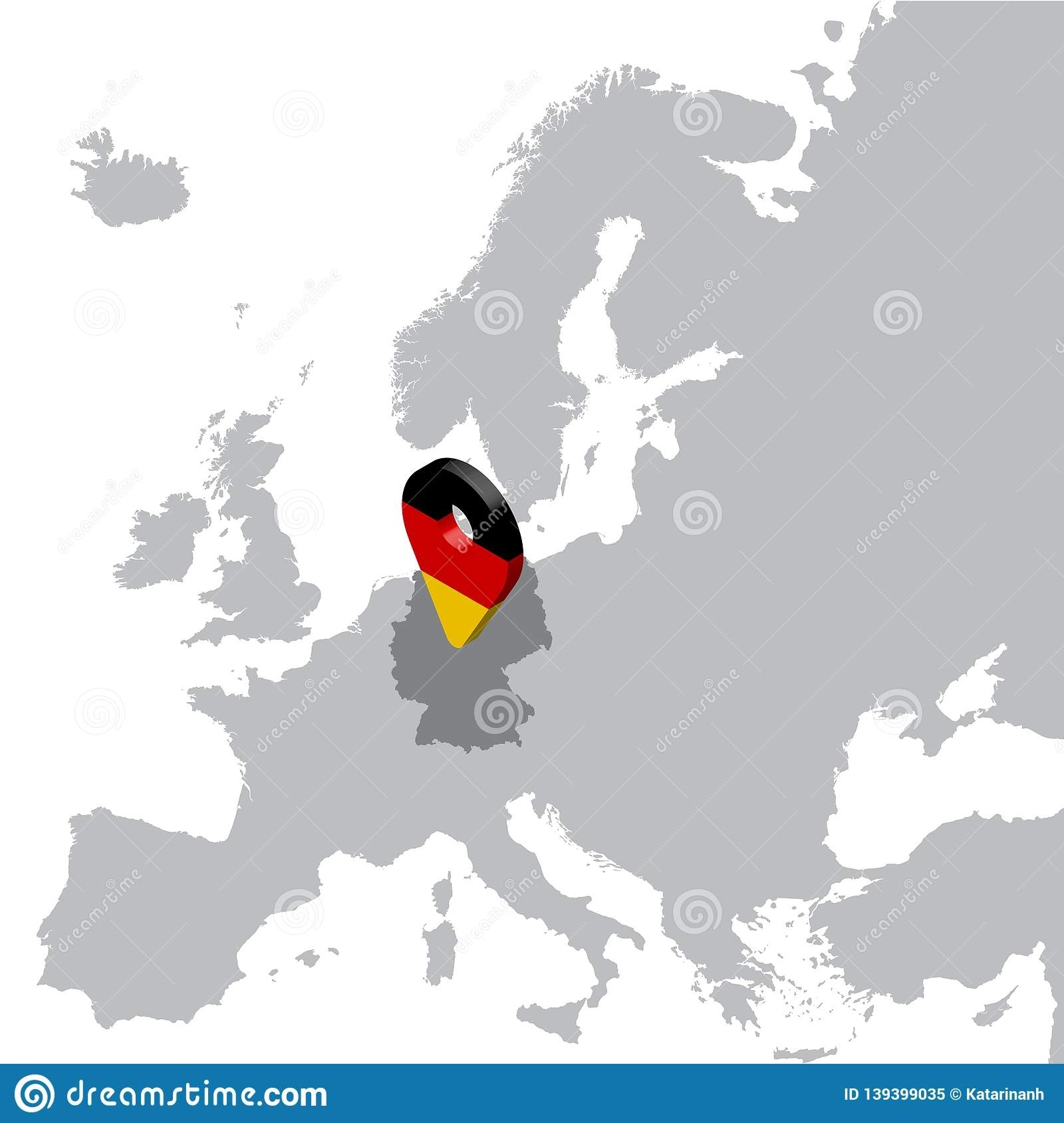 Germany Location Map On Map Europe. 3D Germany Flag Map Marker with regard to Germany Location In Europe Map