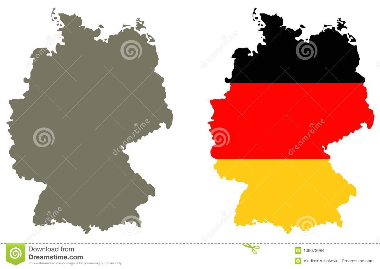 Germany Map And Flag - Country In Central-Western Europe Stock for Germany Map And Flag