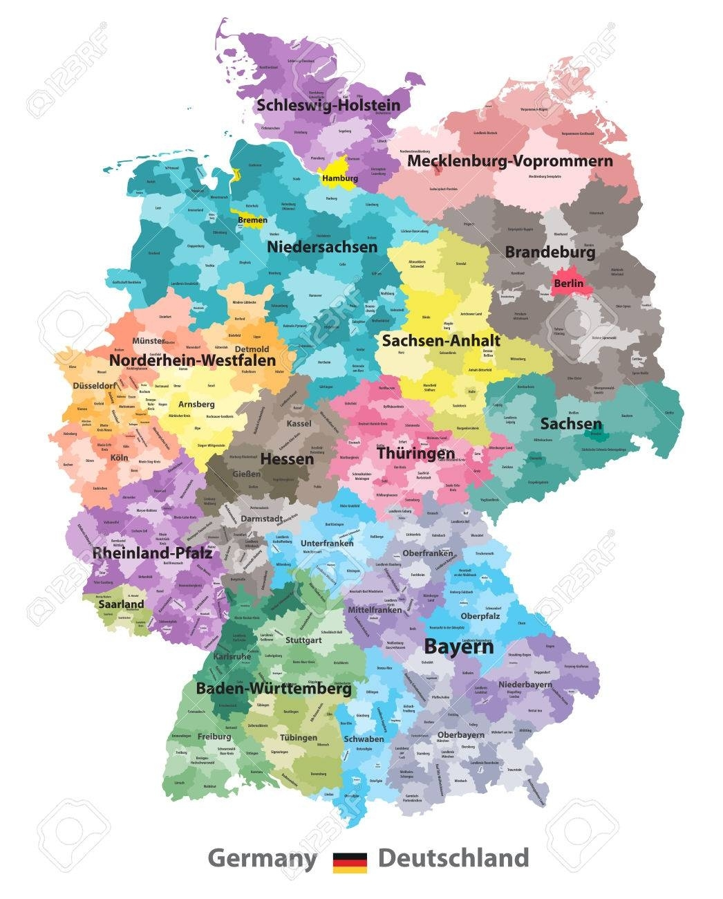 Germany Map (Coloredstates And Administrative Districts).. regarding Germany Districts Map