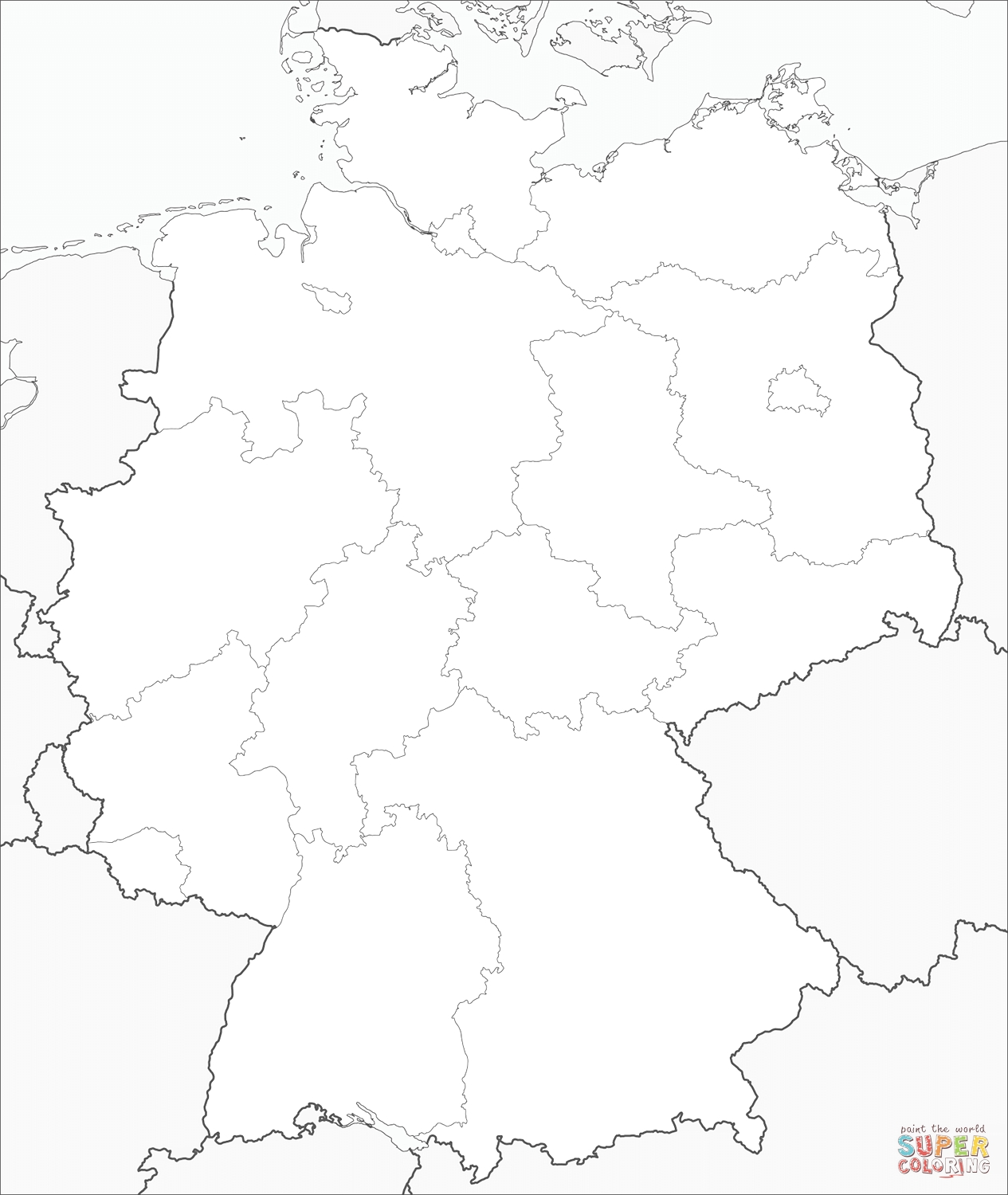 Germany Map Coloring Page   Free Printable Coloring Pages throughout Germany Map Coloring Page