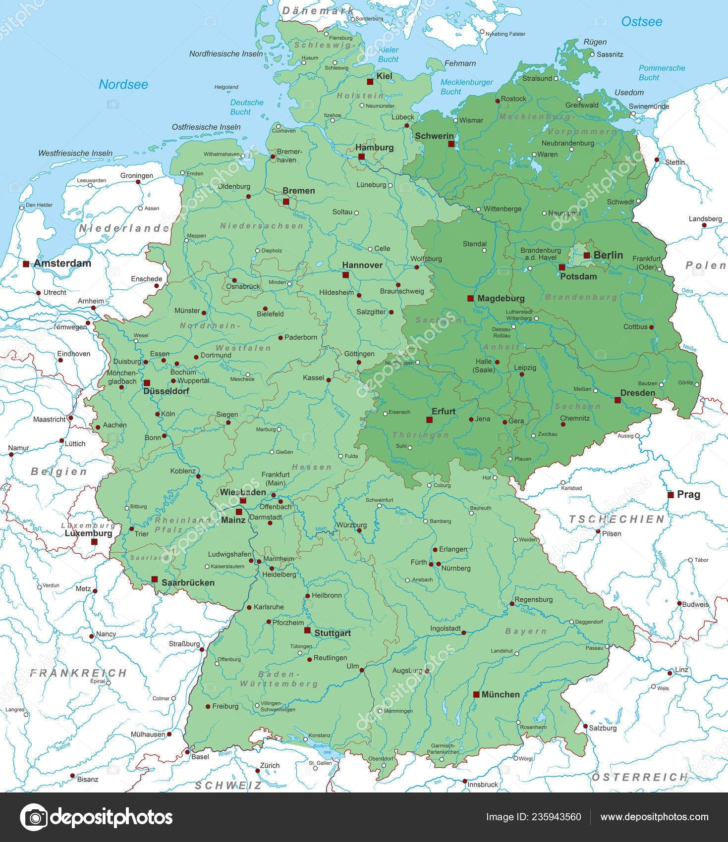Germany Map East Germany High Detailed — Stock Vector © Ii-Graphics for Detailed Map Of East Germany