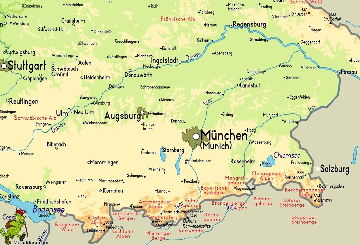 Germany Map Mountains   D1Softball with regard to Mountains In Germany Map