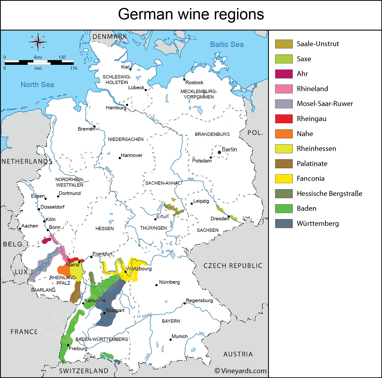 Germany Map Of Vineyards Wine Regions pertaining to Germany Regions Map
