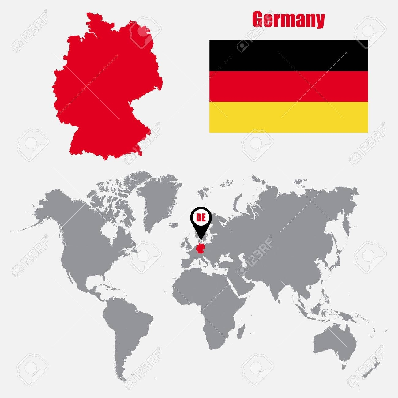 Germany Map On A World Map With Flag And Map Pointer. Vector.. inside Map Of The World With Germany