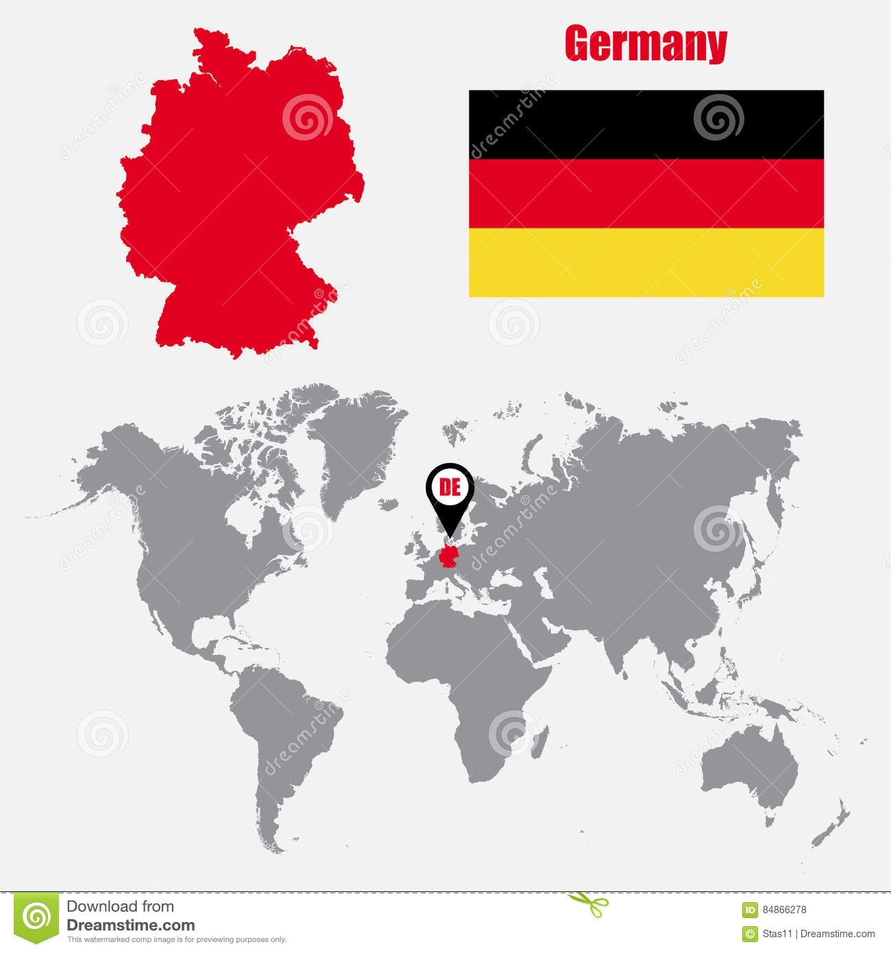 Germany Map On A World Map With Flag And Map Pointer. Vector pertaining to Germany In The Map Of The World