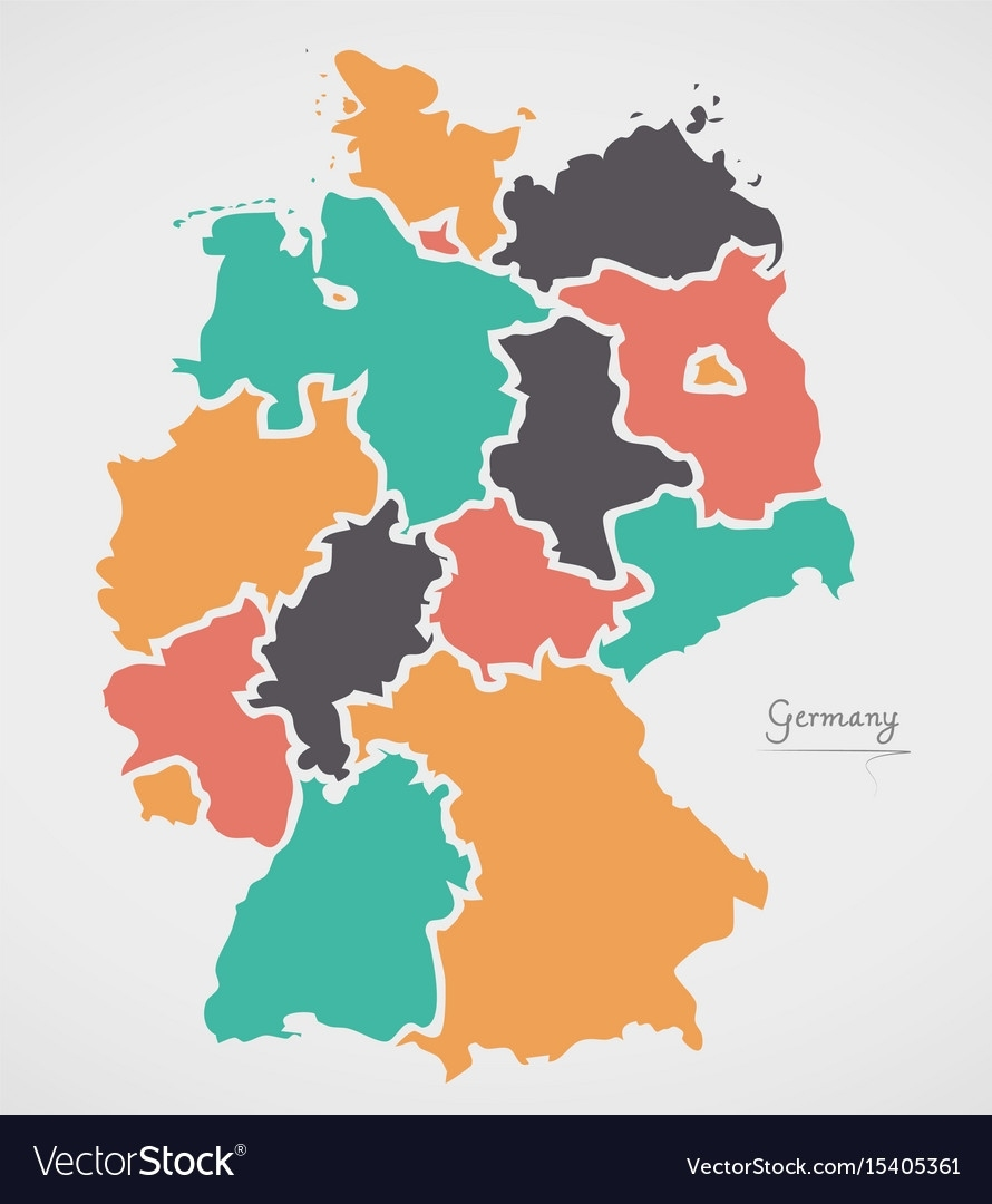Germany Map With States And Modern Round Shapes intended for Germany Map By States