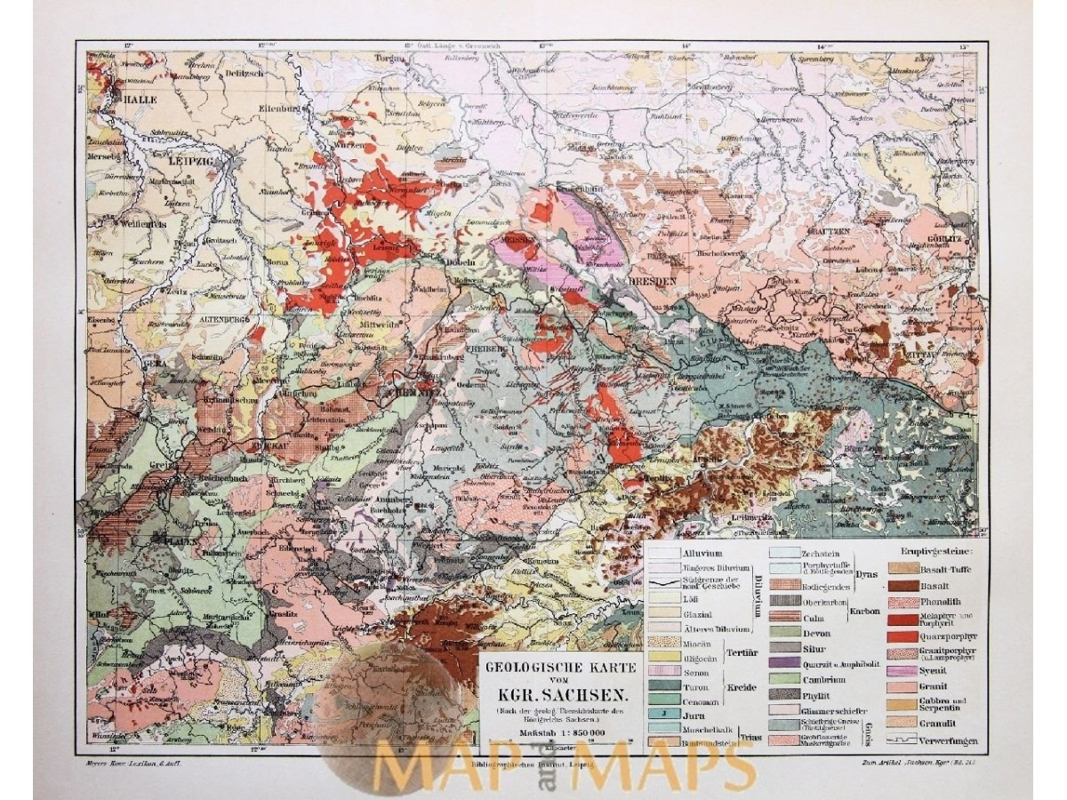 Germany Maps. Antique Geological Map Of Saxony Germany 1905 throughout Geological Map Of Germany