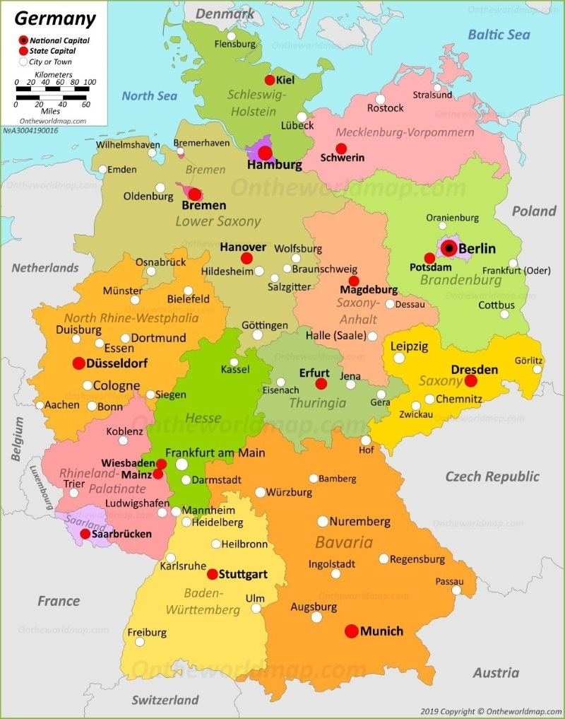 Germany Maps | Maps Of Germany regarding Printable Map Of Germany And Surrounding Countries