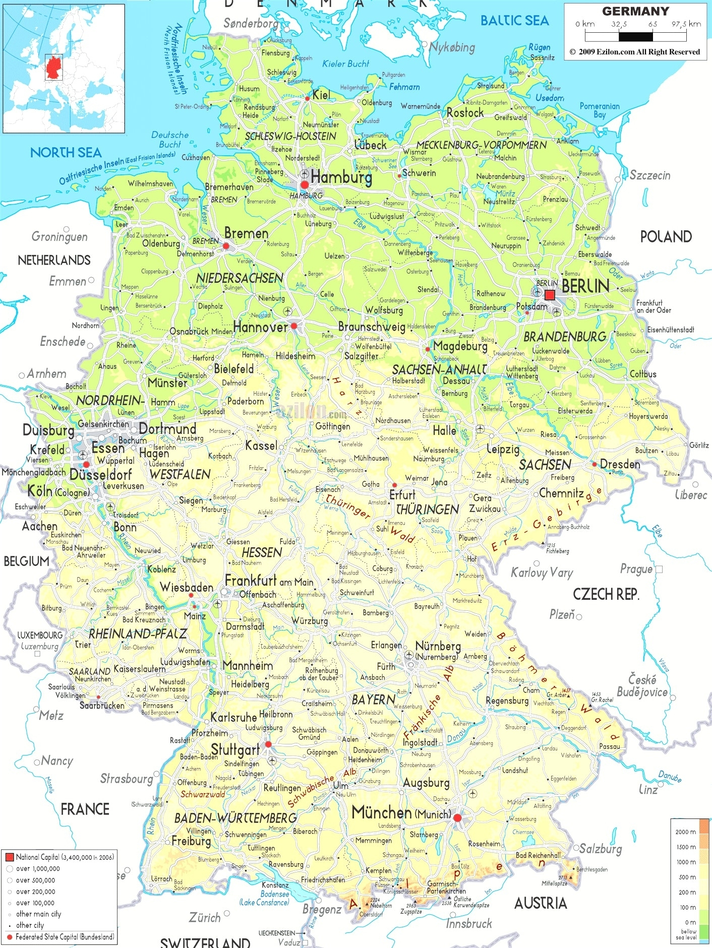 Germany Maps With Towns And Cities And Travel Information | Download for Map Of Germany With Cities And Towns