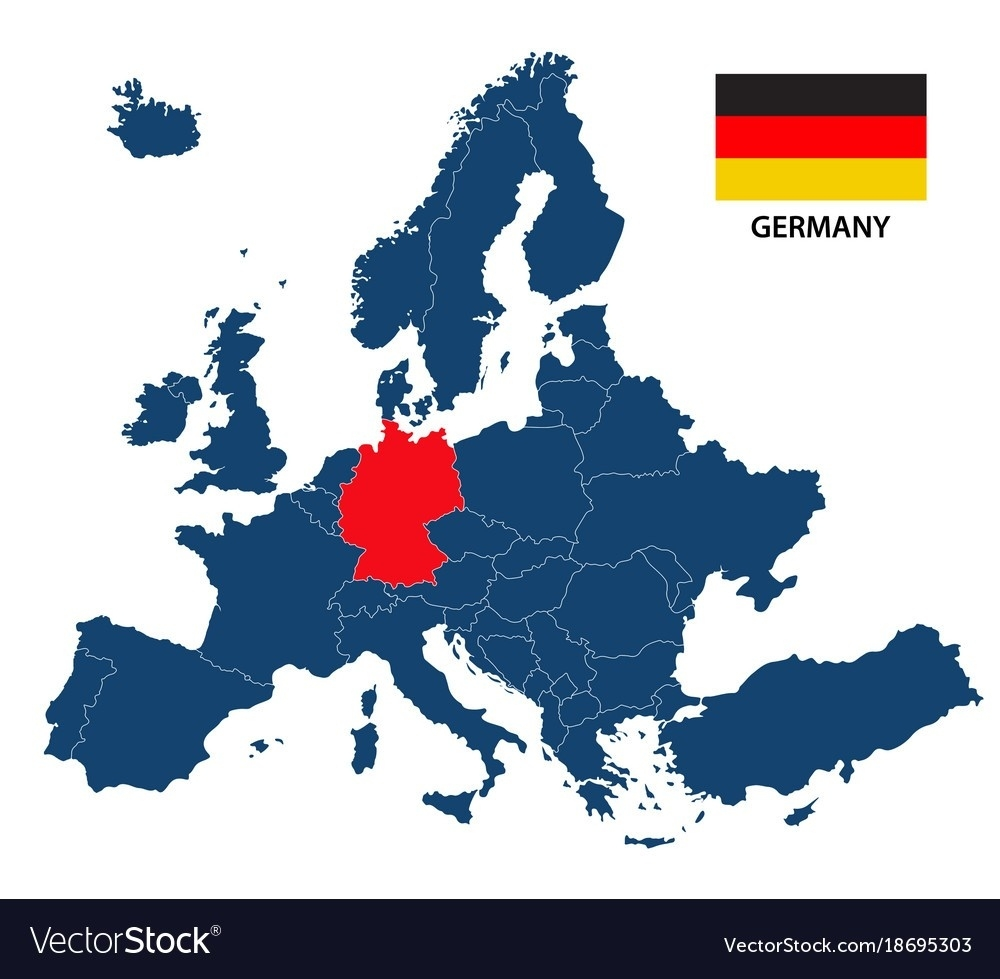 Germany On Europe Map Of With Highlighted Vector 18695303 within Germany Location In Europe Map