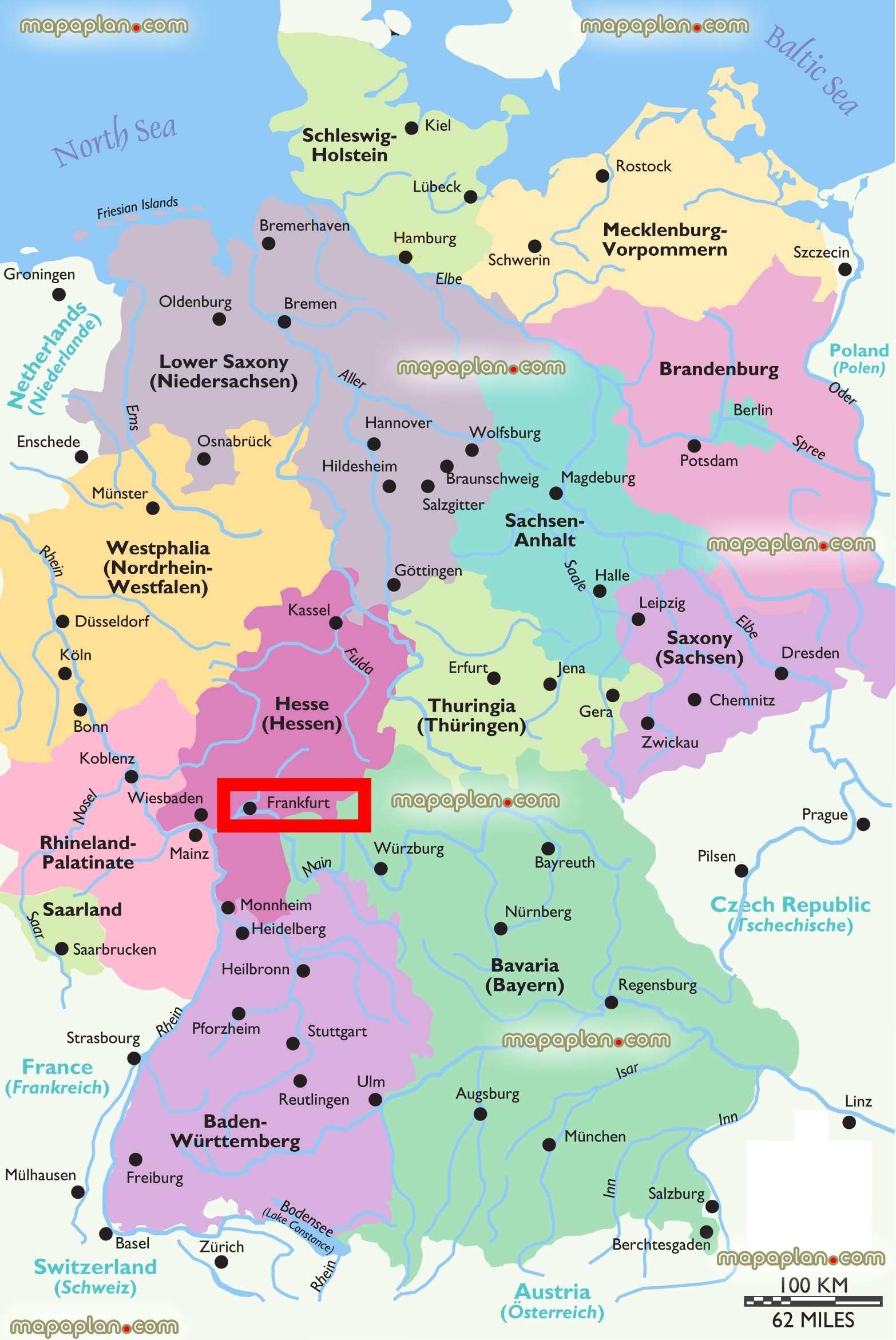 Germany On Map And Travel Information   Download Free Germany On Map in Germany Map Download Free