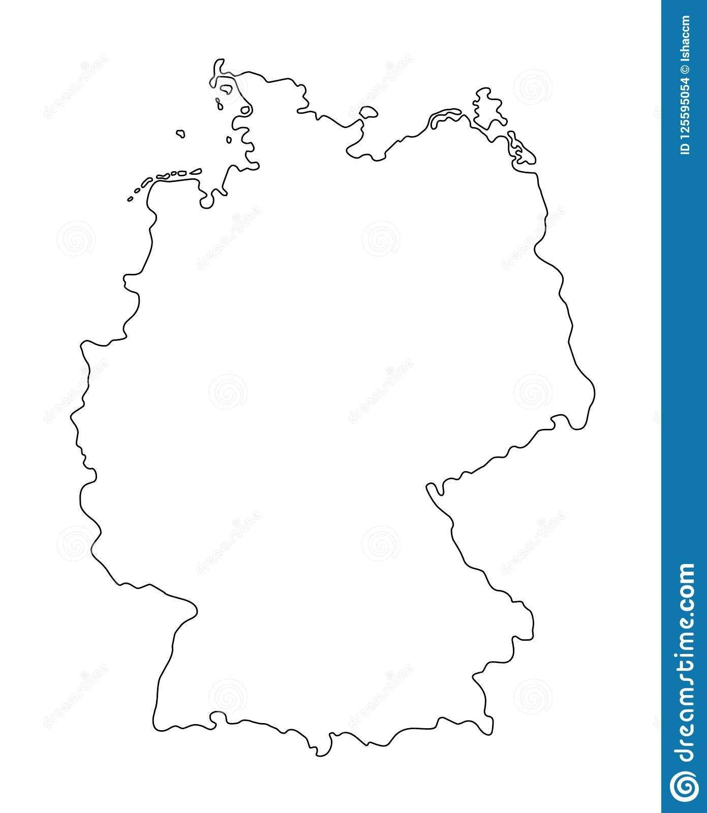 Germany Outline Map Vector Illustration Stock Vector - Illustration for Germany Map Outline