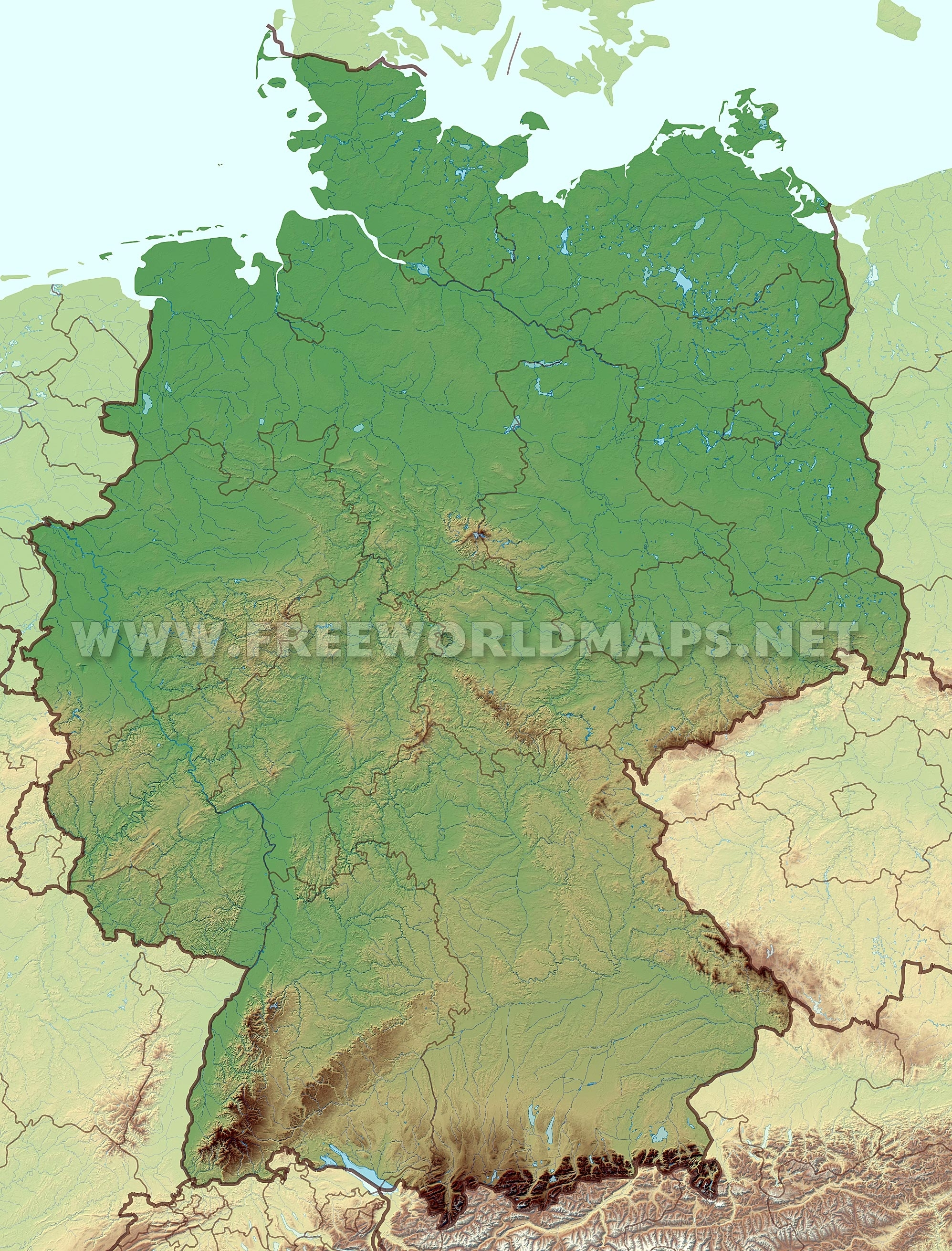 Germany Physical Map in Physical Map Of Germany In English