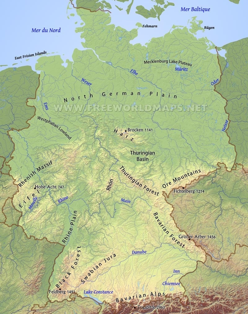 Germany Physical Map inside German Alps Map