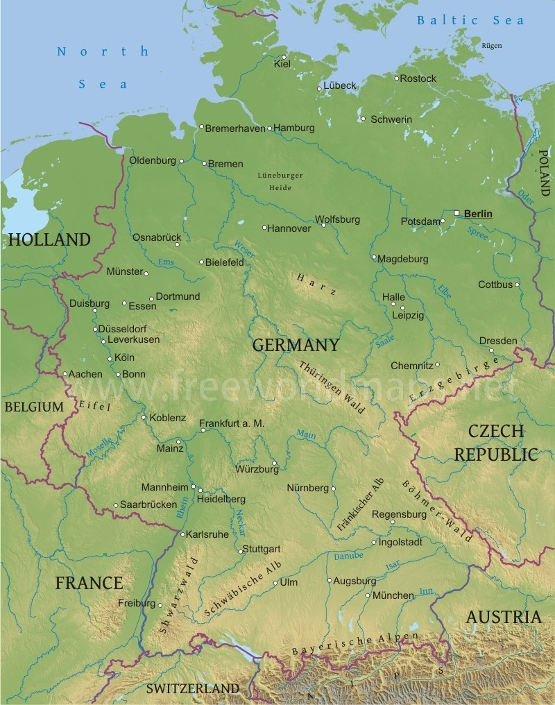 Germany Physical Map regarding Mountains In Germany Map