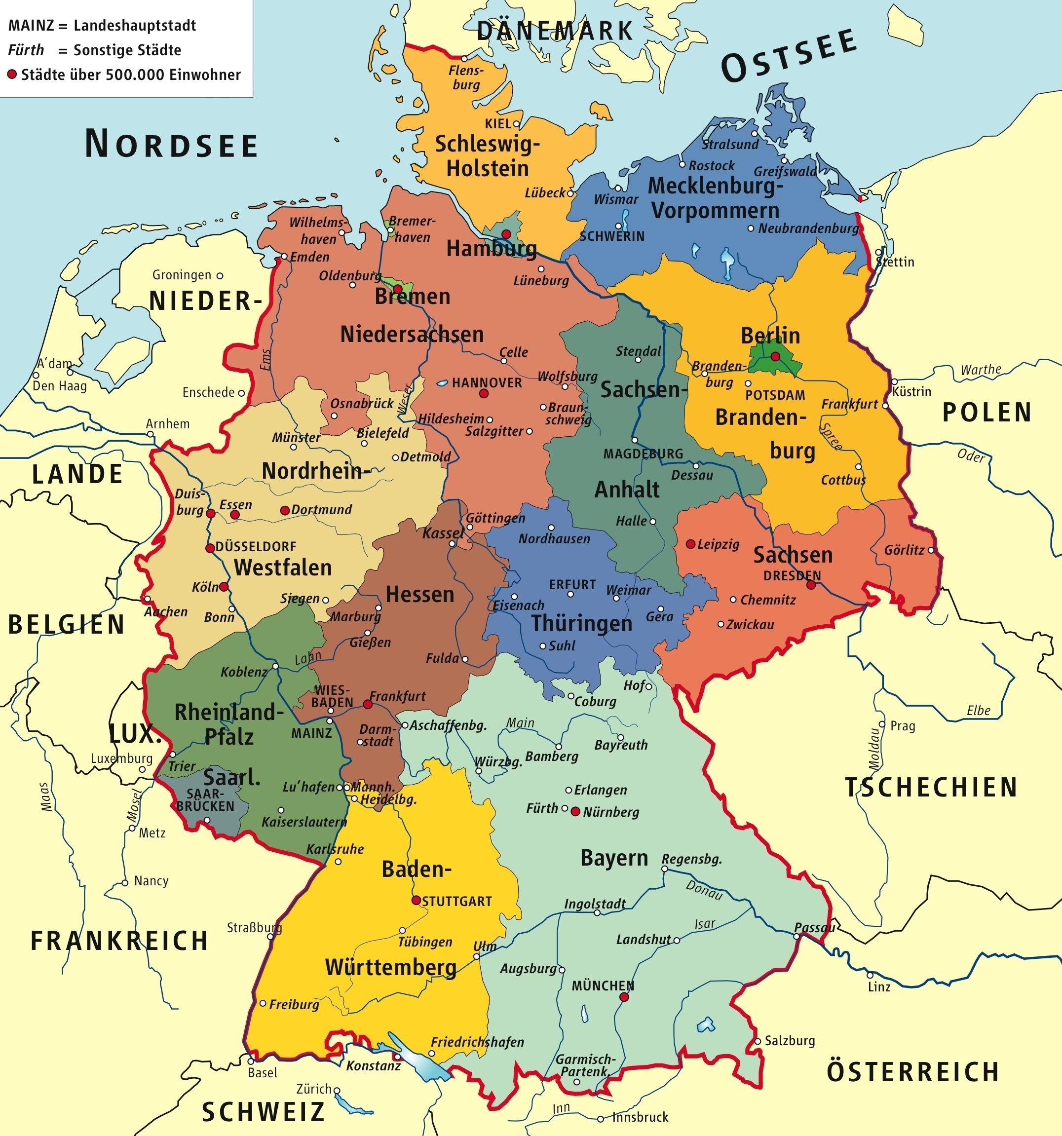 Germany Political Map pertaining to Map Of Germany In German